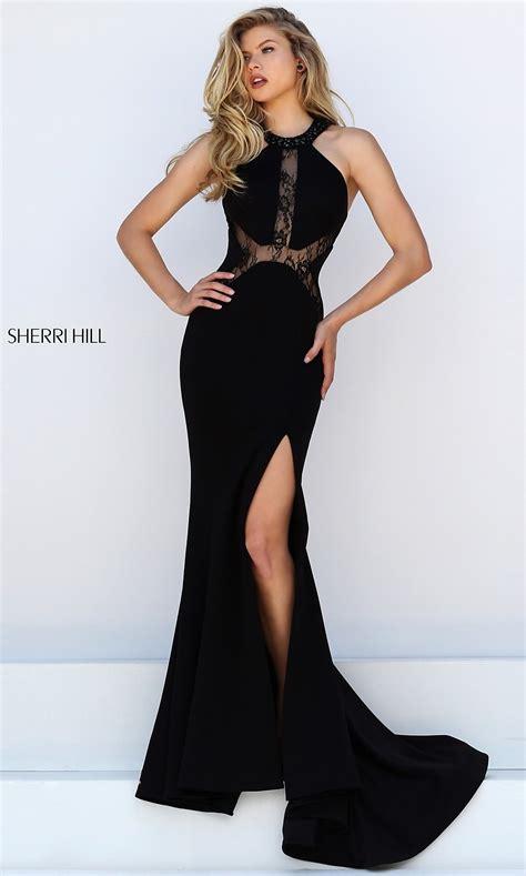 sherri hill long black lace dress promgirl
