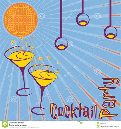 vintage cocktail party illustration retro invitation card vector graphic dryicons party