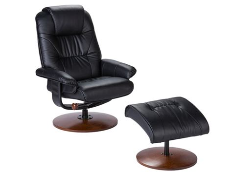 Black Bonded Leather Recliner Ottoman How Do You Spell Ottoman