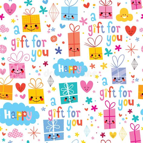 gift paper pattern vector free gift wrapping paper cartoon seamless pattern stock vector