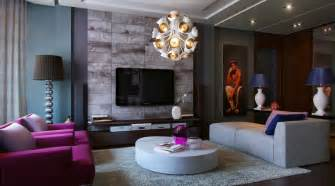 Living Room With Purple Sofa » Simple Home Design