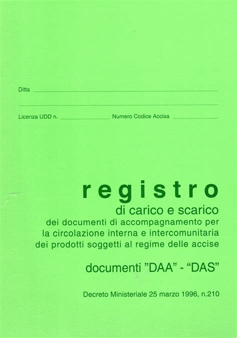 libreria contabile bergamo registro carico e scarico documenti daa das in catalogo