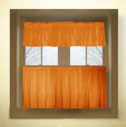 Kitchen Curtain Valance Orange Color Tier Kitchen Curtain Two Panel Set