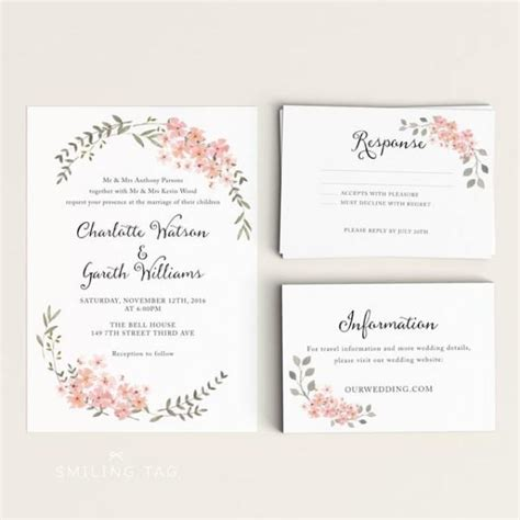 ready to print wedding invitations printable wedding invitation printable floral wedding