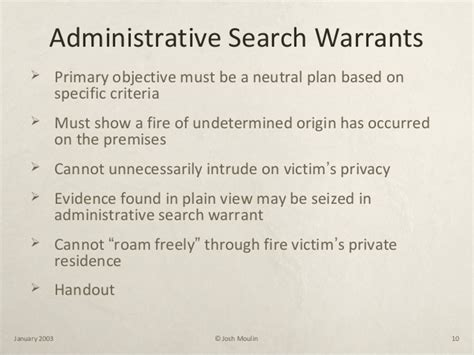 Administrative Search Warrant Josh Moulin Basic Investigation For Enforcement