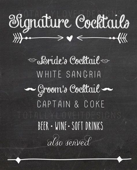 chalkboard signature drink sign signature drink