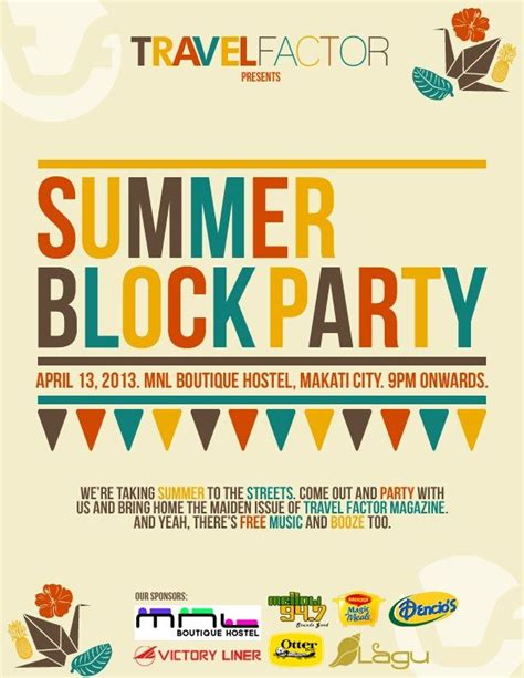 Summer Block Party Block Party Pinterest Block Flyer Template Summer