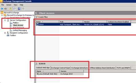 exchange management console exchange management console 2010 outlook web app