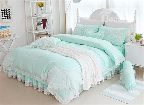mint green bedroom princess style lace edging mint green cotton 4