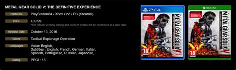 Ps4 Metal Gear Solid V Definitive Experience metal gear solid v the definitive experience annunciato