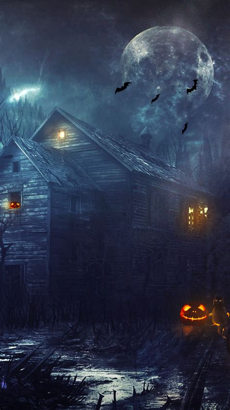 wallpaper halloween house bats pumpkins moon creepy