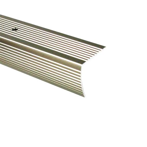 m d building products 1 125 in x 96 in metal pewter stair edging 43936 the home depot