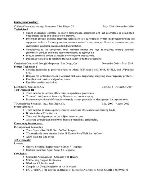 Electronic Resume by Electrical Engineer Electronics Technician Resume