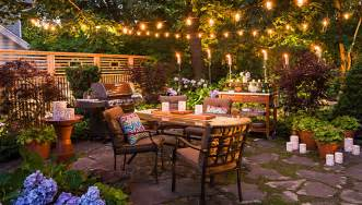 Patio arranged for entertaining after dark