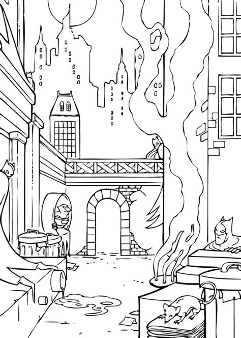 Dark Gotham City Coloring Pages Hellokids Com City Coloring Pages