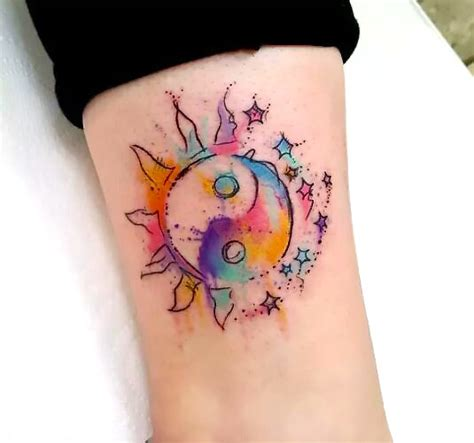 watercolor tattoo yin yang small watercolor yin yang idea
