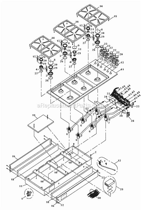 dacor cooktop replacement parts dacor sgm466 parts list and diagram before mf0000000