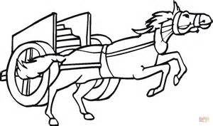 desenho de cavalo puxando uma carruagem para colorir