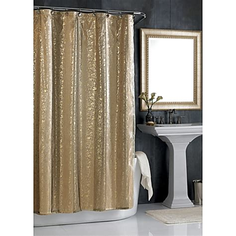black sheer shower curtain sheer bliss shower curtain in gold www bedbathandbeyond com