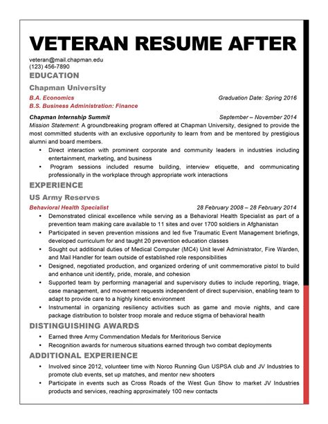 Best Veteran Resume by Veteran Resume 19 Marine Examples Military Sample Could