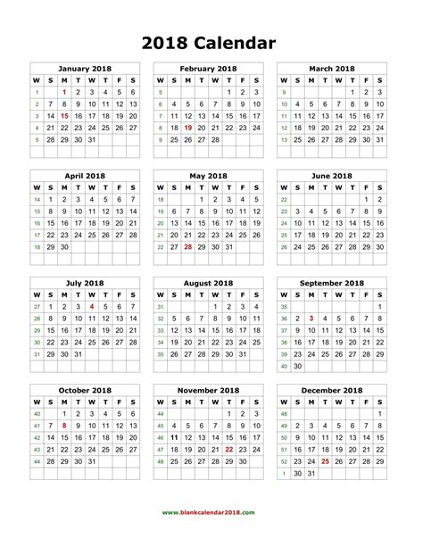 Printable Yearly Calendar 2018 Blank Monthly Calendar 2018 Weekly Calendar Template