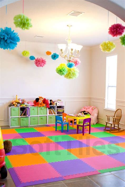 bright colorful playroom  softtiles lime pink