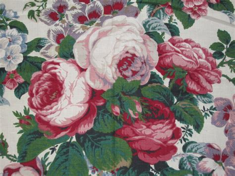 Cabbage Upholstery Fabric by Yang Fabric 1 5 Yards Pink Cabbage Roses Peonies Cottage