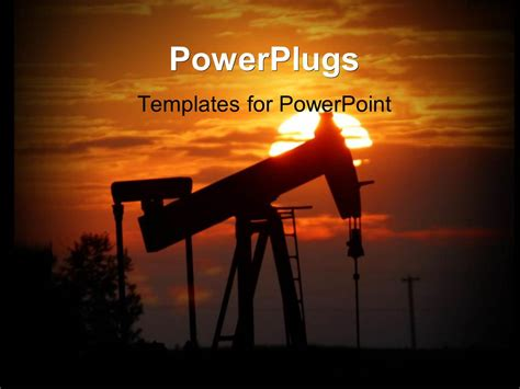 powerpoint themes oil and gas powerpoint template oil pump jack is silhouetted by