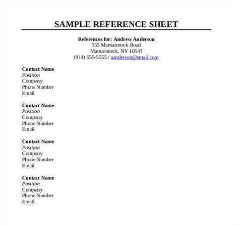 Free Reference Card Template by Reference Sheet Template 30 Free Word Pdf Documents
