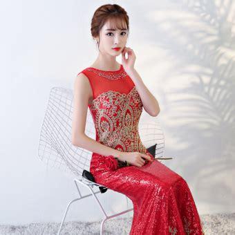 jual baru menikah baju pelayanan gaun malam merah tua di