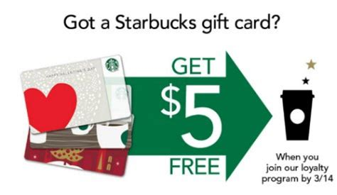 Discount On Starbucks Gift Card - join starbucks loyalty program get 5 free on your starbucks gift card