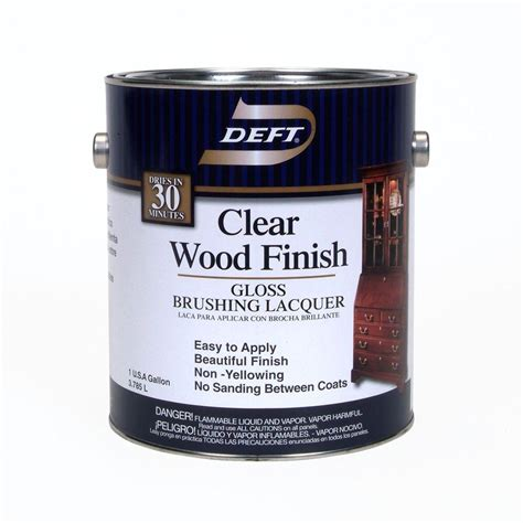 deft 1 gal gloss interior clear wood finish brushing lacquer 01001 the home depot