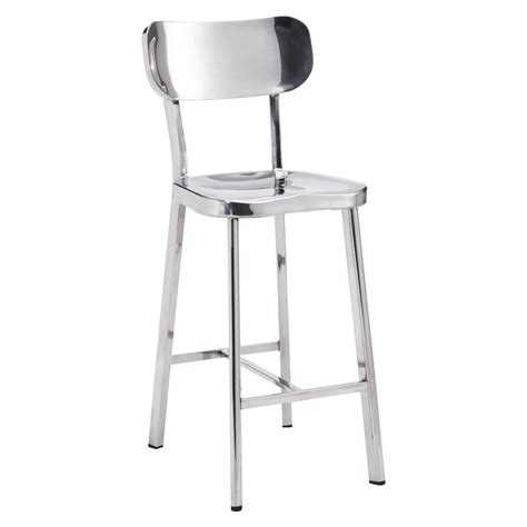 polished stainless steel counter stools modern oria counter stool 2 set polished stainless