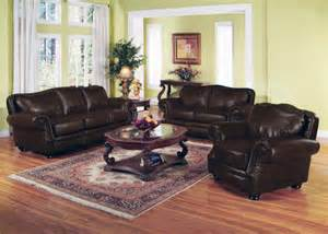 Leather Livingroom Set Leather Sofa Set 3 In Burgundy Leather