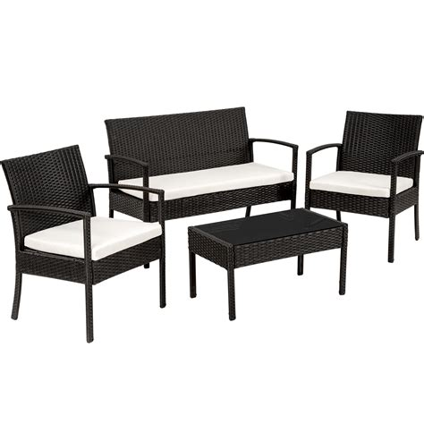 black rattan bench poly rattan garden furniture 2 chairs bench table set