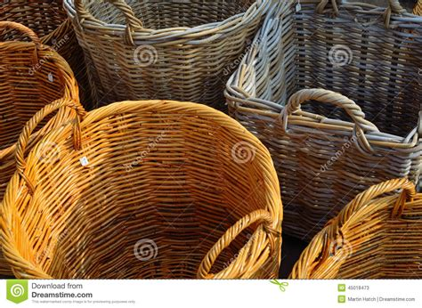 Handmade Baskets For Sale - wicker baskets stock photo image 45018473