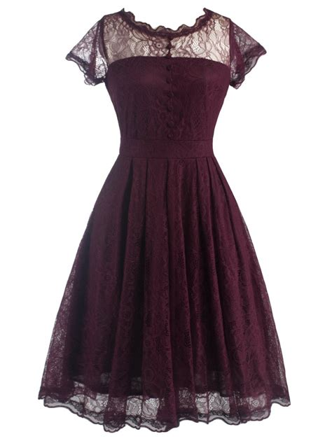 Dress Vintage vintage dresses wine retro s laciness back v