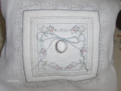 my cross stitch corner ring bearer s pillow by the