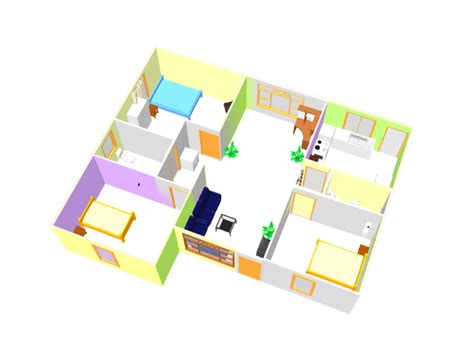 Single House Floor Plan by Three Bed Room 3d House Plan With Dwg Cad File Free Download