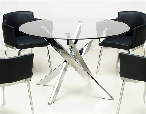 Round Clear Glass Dining Table with Chrome Crossed Legs