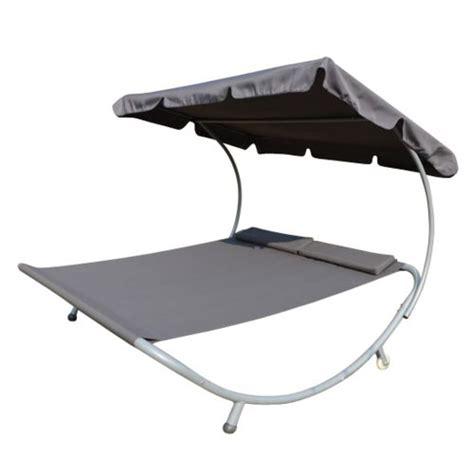 homcom bain de soleil transat chaise longue lit de jardin avec pare soleil 2 places gris 63g