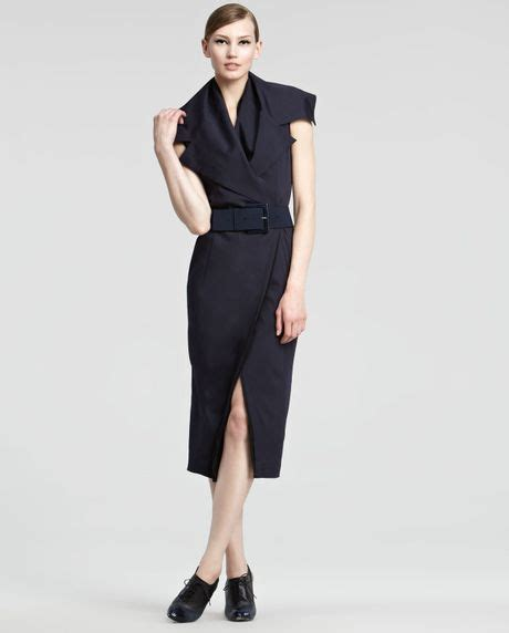 donna black ink new york donna karan new york trench dress in black ink lyst