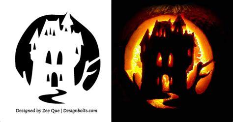 pumpkin pattern haunted house 5 free scary halloween pumpkin carving stencils designs