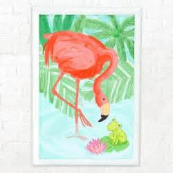 pink flamingo and frog nursery decor for room