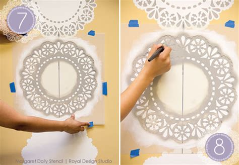 lace pattern wall art stencil how to lace doily stripe wall decor paint pattern