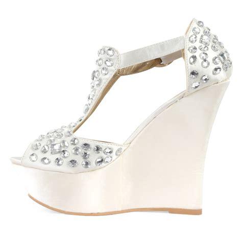 new womens ivory satin diamante platform bridal
