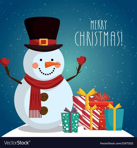 happy merry christmas snowman character royalty  vector