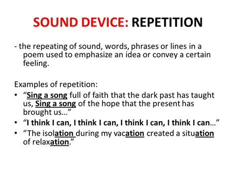 exle of repetition figurative language literary devices ppt