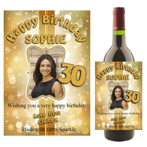 Personalised Gold Sparkle Happy Birthday Wine Champagne