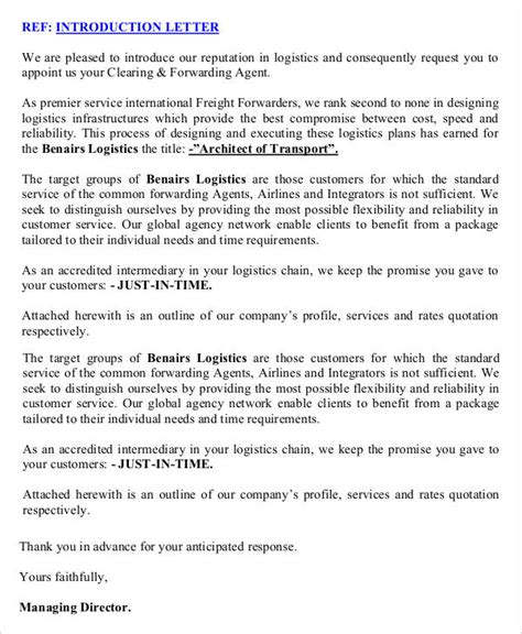 Logistics Business Introduction Letter Sle how to write an introduction letter introduce the